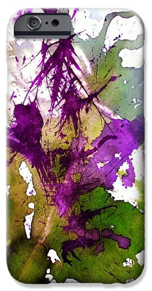 Nature Abstracts iPhone Cases - Flower brush purple iPhone Case by Shelley Wheeler
