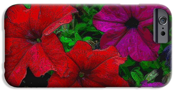 Red Abstract iPhone Cases - Flower Burst iPhone Case by Visual Artist  Frank Bonilla