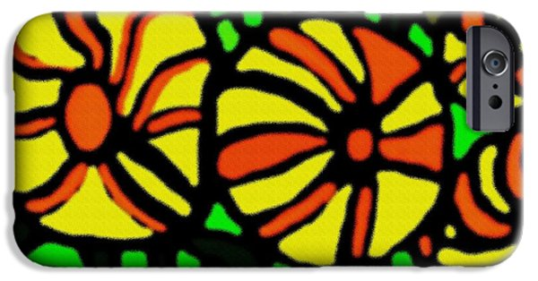 Abstract Digital Pastels iPhone Cases - Flower Concept and Leaf Surface H b iPhone Case by Gert J Rheeders