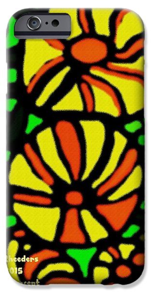 Digital Art Pastels iPhone Cases - Flower Concept and Leaf Surface V a iPhone Case by Gert J Rheeders