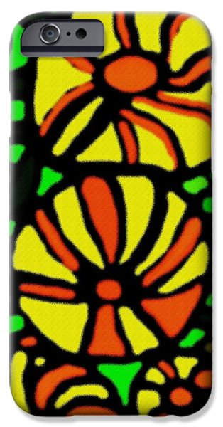 Digital Art Pastels iPhone Cases - Flower Concept and Leaf Surface V b iPhone Case by Gert J Rheeders