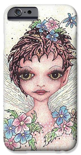 Flower Pink Fairy Child Drawings iPhone Cases - Flower Fairy iPhone Case by Karen Zemanek