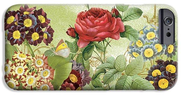 Floral Digital Art Digital Art iPhone Cases - Flower Garden-JP3012 iPhone Case by Jean Plout