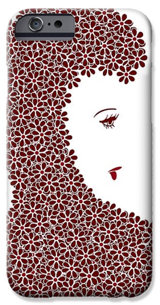 Feminine Drawings iPhone Cases - Flower Fashion iPhone Case by Frank Tschakert