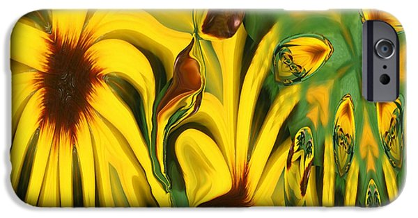 Abstract Digital iPhone Cases - Flower Fun iPhone Case by Linda Sannuti