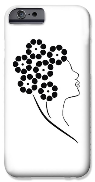 Lines Drawings iPhone Cases - Flower girl iPhone Case by Frank Tschakert