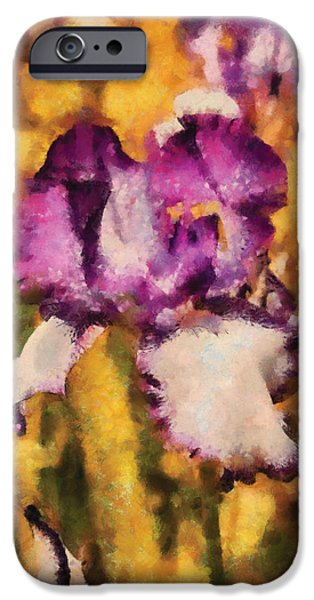 Flower - Iris - Diafragma violeta iPhone Case by Mike Savad