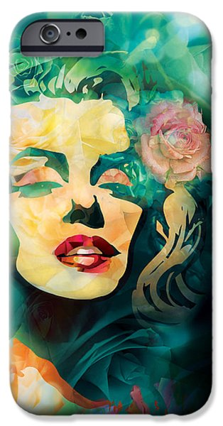 Abstract Fashion Designer Art iPhone Cases - Flower Marilyn iPhone Case by Irina Effa