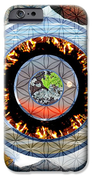 Flower Of Life Mixed Media iPhone Cases - Flower of Life Five Elements iPhone Case by Joanna Whitney