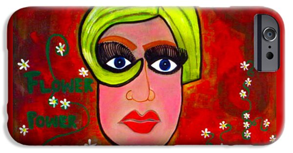 Twiggy Paintings iPhone Cases - Flower Power iPhone Case by Kim Magee ART