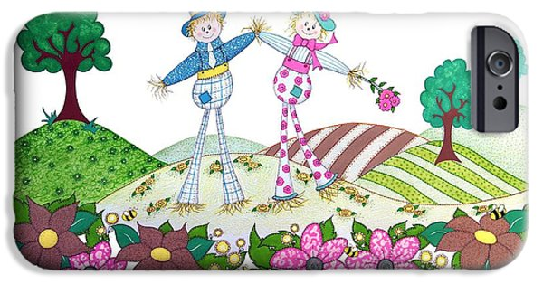 Couple Drawings iPhone Cases - Flower Power Scarecrows iPhone Case by Sandra Moore
