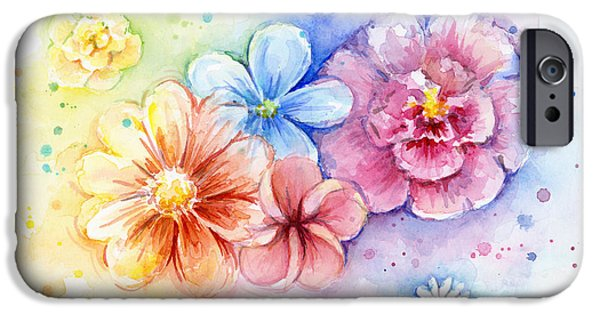 Power iPhone Cases - Flower Power Watercolor iPhone Case by Olga Shvartsur