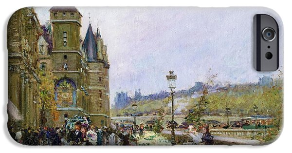 Florals iPhone Cases - Flower Sellers by the Seine iPhone Case by Georges Stein