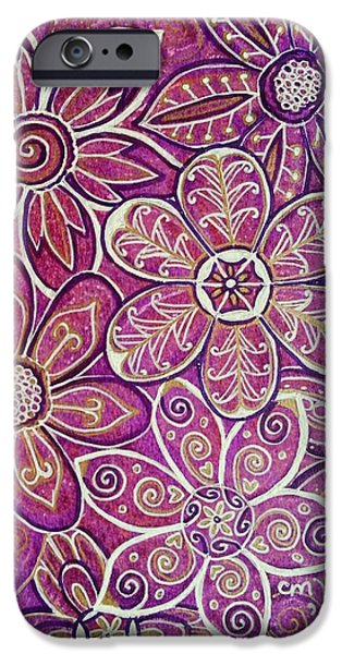 Abstracted Coneflowers Mixed Media iPhone Cases - Flower Tangle iPhone Case by Michelle Vyn