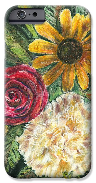 Floral Pastels iPhone Cases - Flower Trio iPhone Case by Arline Wagner