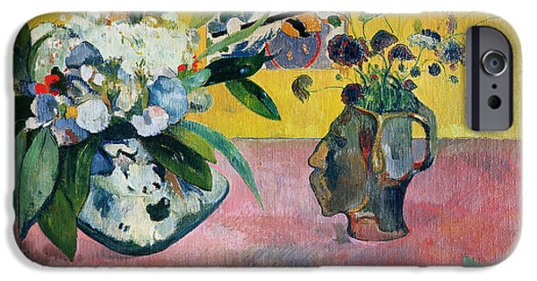 Flower Still Life Prints iPhone Cases - Flowers and a Japanese Print iPhone Case by Paul Gauguin