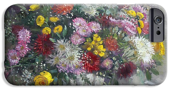 White Flowers Paintings iPhone Cases - Flowers for Viola iPhone Case by Ylli Haruni