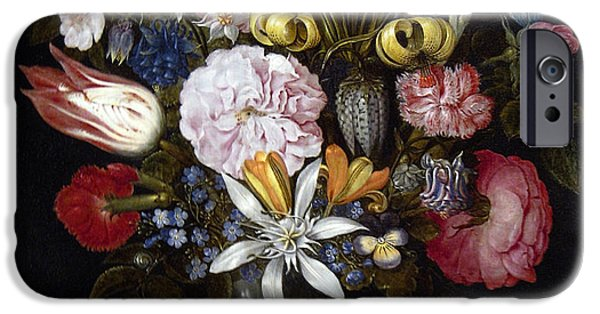 Painter Photographs iPhone Cases - Flowers in a Glass by Ambrosius Bosschaert the Elder 1606 iPhone Case by Daniel Hagerman