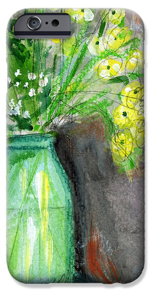 Pillow iPhone Cases - Flowers In A Green Jar- Art by Linda Woods iPhone Case by Linda Woods