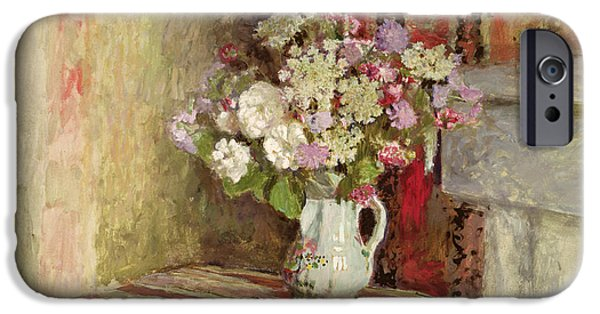 Pottery Paintings iPhone Cases - Flowers in a Vase iPhone Case by Edouard Vuillard