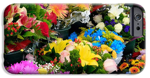 Business Paintings iPhone Cases - Flowers In Flower Shop 1 iPhone Case by Lanjee Chee