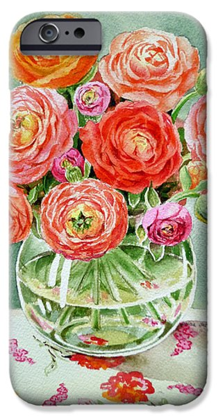 Glass Vase iPhone Cases - Flowers in the Glass Vase iPhone Case by Irina Sztukowski