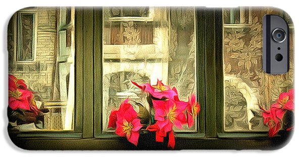 Ledge iPhone Cases - Flowers on a Ledge iPhone Case by Anthony Caruso