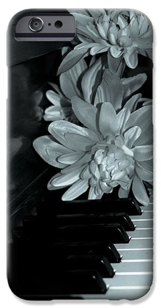 Piano iPhone Cases - Flowers On Piano Keys iPhone Case by Dan Sproul