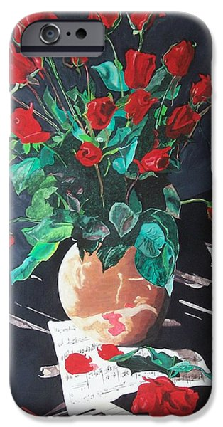 Piano iPhone Cases - Flowers on the Piano iPhone Case by Attila Nagy