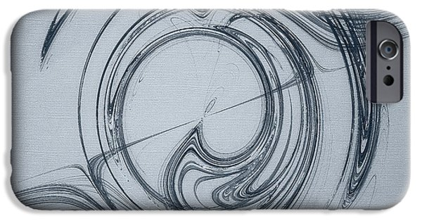 Abstract Digital Photographs iPhone Cases - Flowing Rhythms Abstract on Blue iPhone Case by Jan Tyler