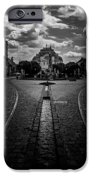 Canal Street Line iPhone Cases - Flowing Street of Kosice iPhone Case by Justin Woodhouse
