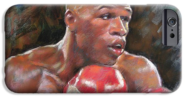Champ Boxer iPhone Cases - Floyd Mayweather Jr iPhone Case by Ylli Haruni
