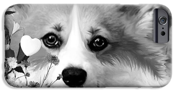 Dog In Landscape iPhone Cases - Fluffy Corgi in Flowers iPhone Case by Kathy Kelly