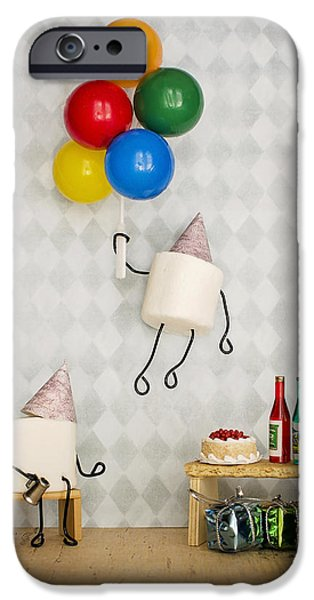 Party Birthday Party iPhone Cases - Fluffy Floater iPhone Case by Heather Applegate