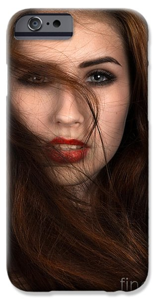 Cut-outs iPhone Cases - Fluffy Hair iPhone Case by Aleksey Tugolukov