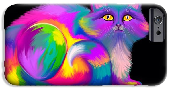 iPhone Cases - Fluffy Rainbow Cat iPhone Case by Nick Gustafson