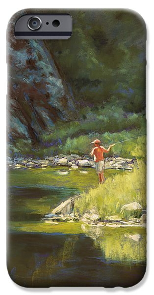 Fishing Pastels iPhone Cases - Fly Fishing iPhone Case by Billie Colson