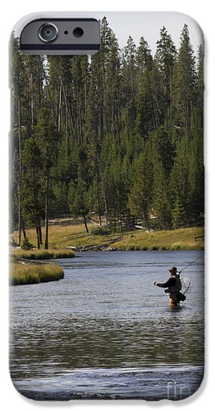 Fishermen iPhone Cases - Fly Fishing in the Firehole River Yellowstone iPhone Case by Dustin K Ryan