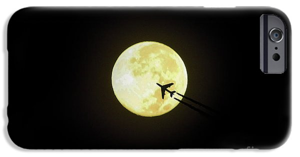 Moonscape Digital Art iPhone Cases - Fly Me To The Moon iPhone Case by D Hackett