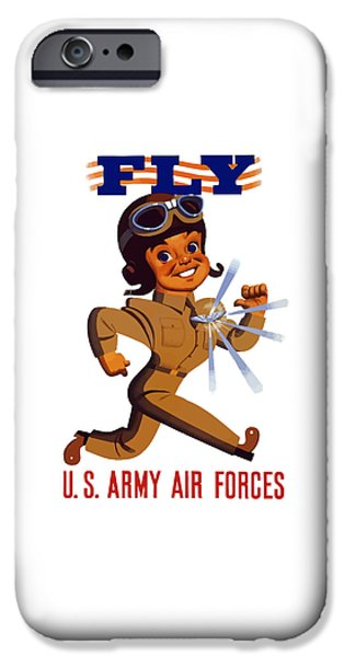 Aviator iPhone Cases - FLY US Army Air Forces iPhone Case by War Is Hell Store