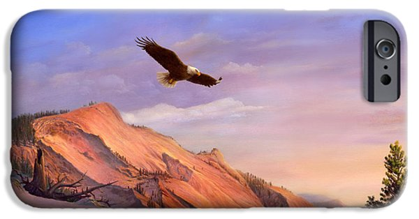American Eagle Paintings iPhone Cases - Flying American Bald Eagle Mountain Landscape Painting - American West - Western Decor - Bird Art iPhone Case by Walt Curlee