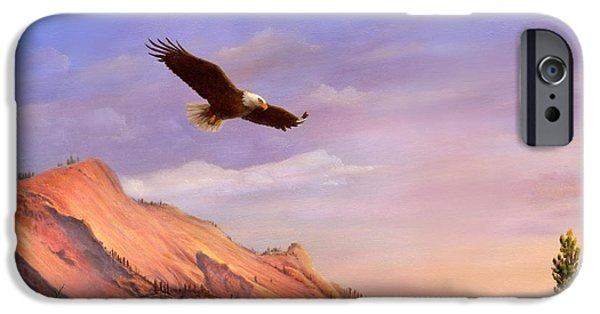 American Eagle Paintings iPhone Cases - Flying American Bald Eagle Mountain Landscape Painting - American West - Western Decor - Square Form iPhone Case by Walt Curlee