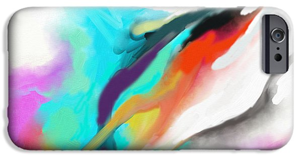 Abstract Digital Paintings iPhone Cases - Flying Colours iPhone Case by Nawi Samaraweera