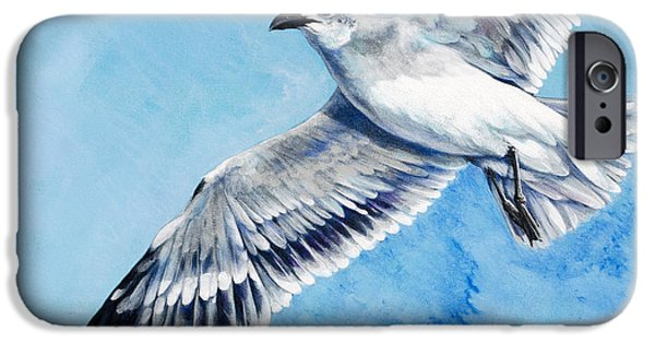 Soaring Paintings iPhone Cases - Flying Gull iPhone Case by Joan Garcia