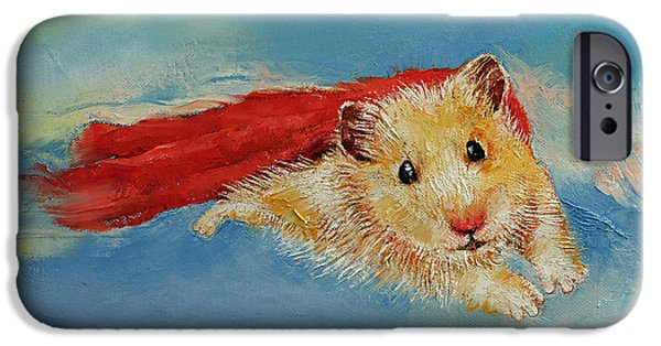 Michael Paintings iPhone Cases - Flying Hamster iPhone Case by Michael Creese