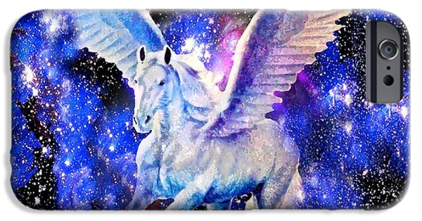 Horse iPhone Cases - Flying Horse in the Starry Night Sky iPhone Case by Saundra Myles