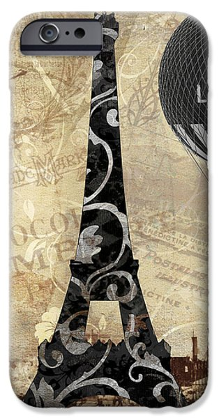 Hot Air Balloon iPhone Cases - Flying Over Paris iPhone Case by Mindy Sommers
