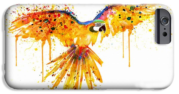 Birds Digital iPhone Cases - Flying Parrot watercolor iPhone Case by Marian Voicu