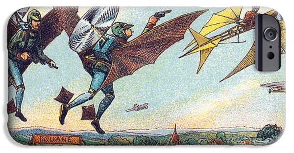 Law Enforcement iPhone Cases - Flying Policemen, 1900s French Postcard iPhone Case by Science Source