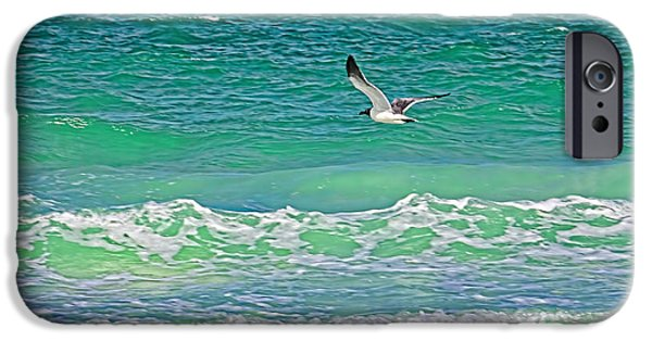 Flying Seagull iPhone Cases - Flying Solo iPhone Case by HH Photography